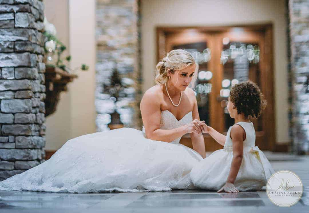 Bride and flower girl at Deerfield Country Club Brockport, NY Wedding