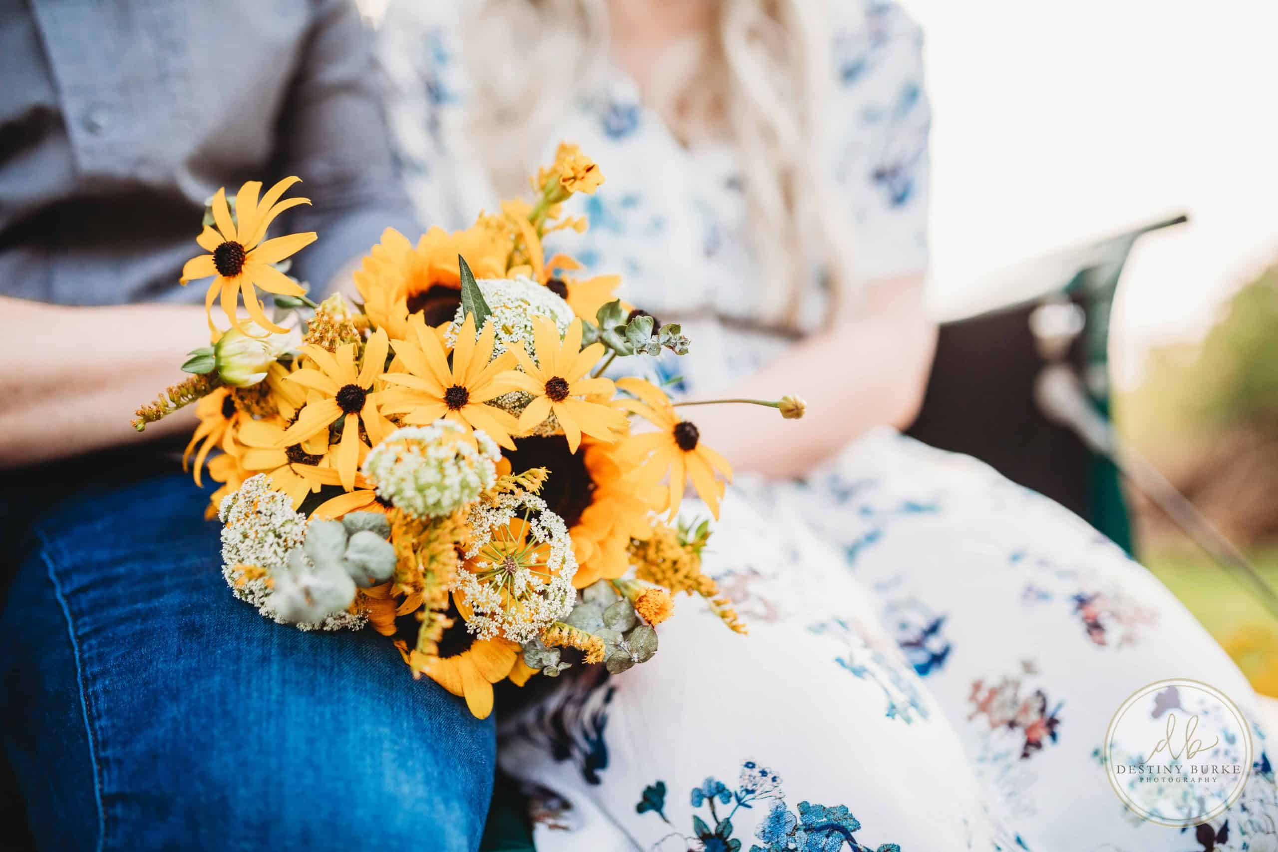Truck, Florals, flowers, couple, photo session, anniversary session, sunflowers, dress, studabaker, vintage truck, vintage